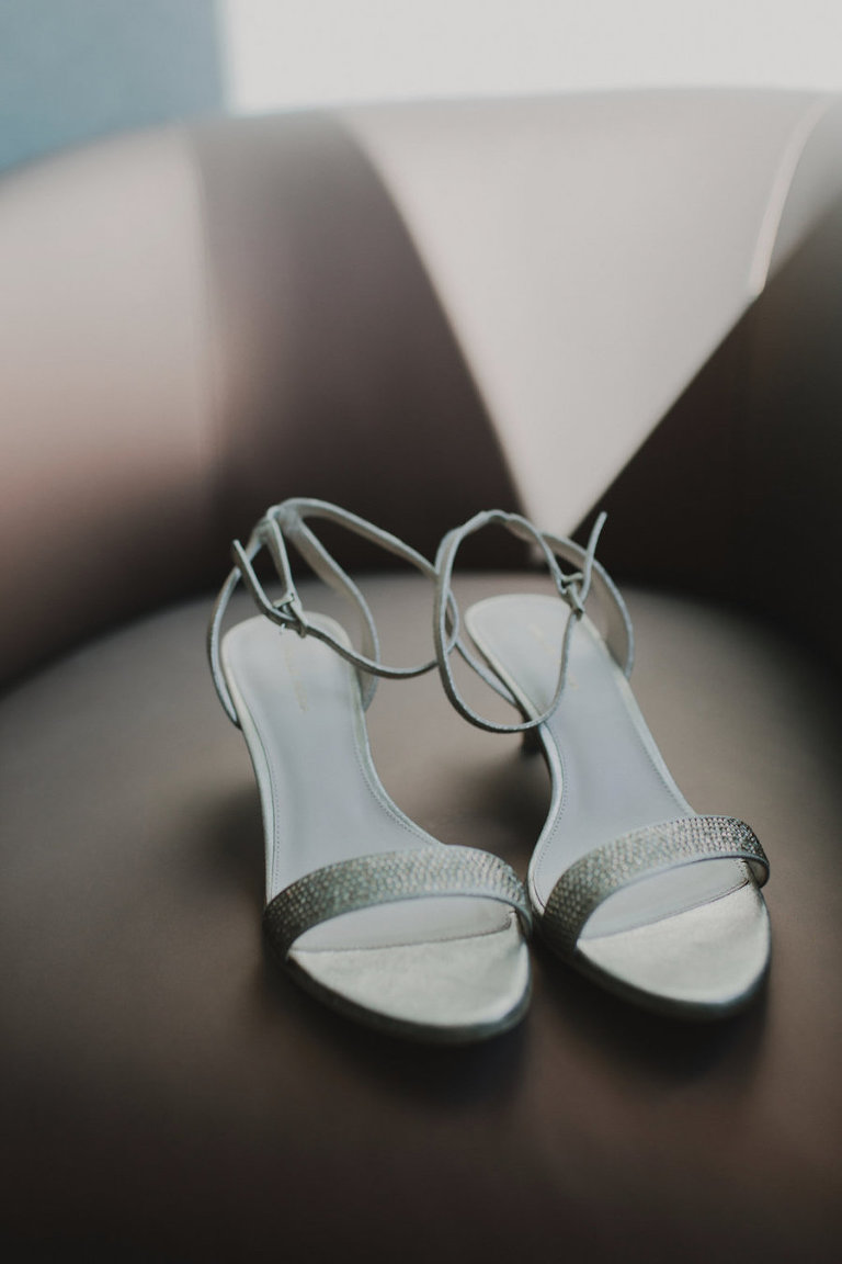 Silver, Rhinestone Open-Toed Crystal Bridal Wedding Shoes