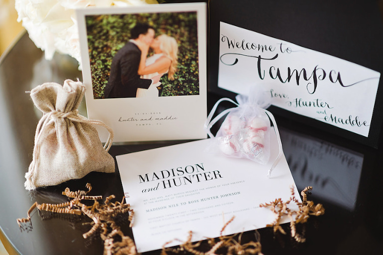 Black and White Tampa Wedding Invitation and Stationary Suite