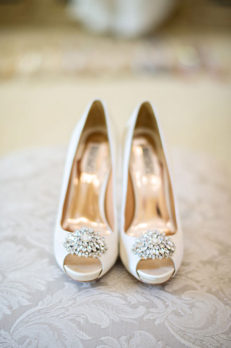 White-Ivory Open Toed Badgley Mischka Wedding Shoes with Rhinestone Accent
