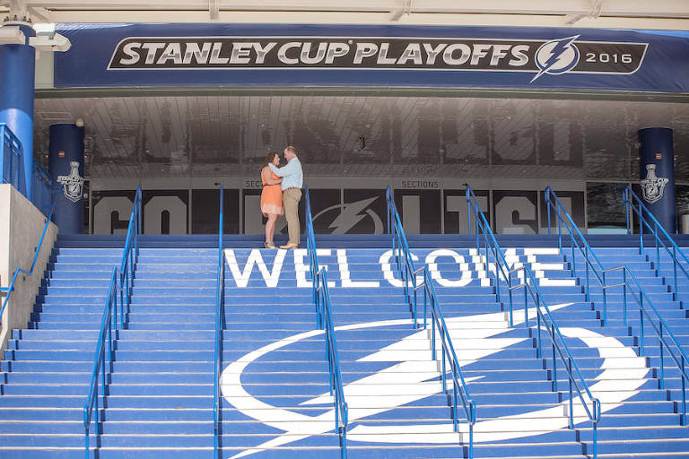 Tampa Lightning Themed Engagement Session at Amalie Arena | Kristen Marie Photography