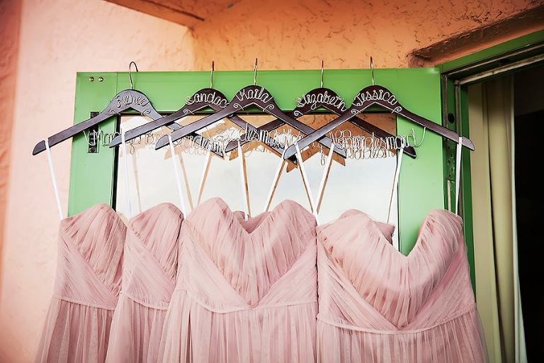 Jim Hjelm Blush Pink Wedding Bridesmaid Dresses from Bella Bridesmaids with Custom Wire Hangers| St. Pete Wedding Photographer Limelight Photography