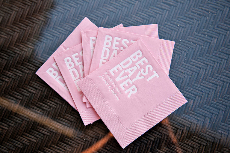 Best Day Ever Personalized Pink Wedding Napkins