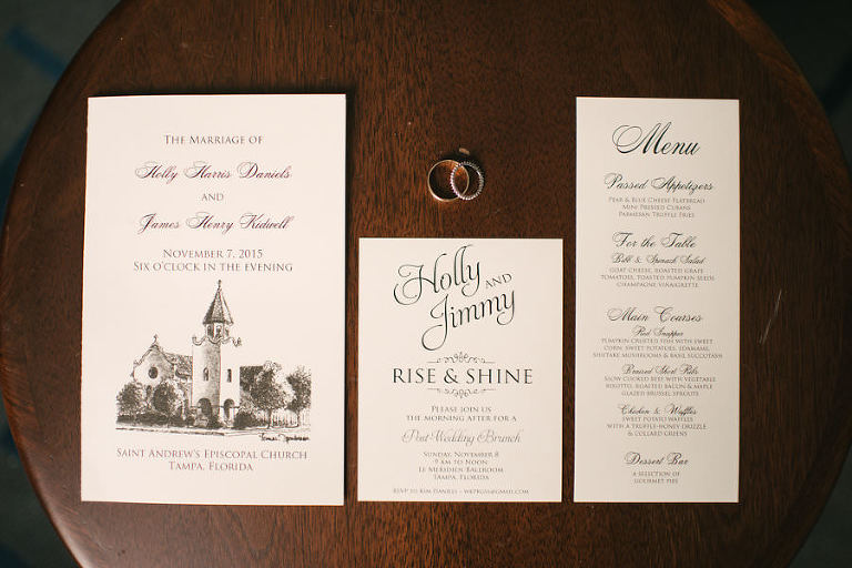 Elegant Black and White Wedding Invitation and Stationery with Church Drawing