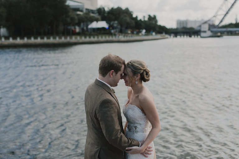 Outdoor, Downtown Tampa Waterfront Bride and Groom Wedding Portrait in Tan Suit and Ivory, Strapless JLM Couture Wedding Dress | | Tampa Wedding Makeup Artist Lindsay Does Makeup