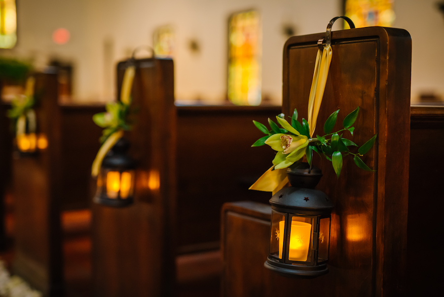 Mini Bronze Lanterns with Green Lillies | Wedding Ceremony Decor