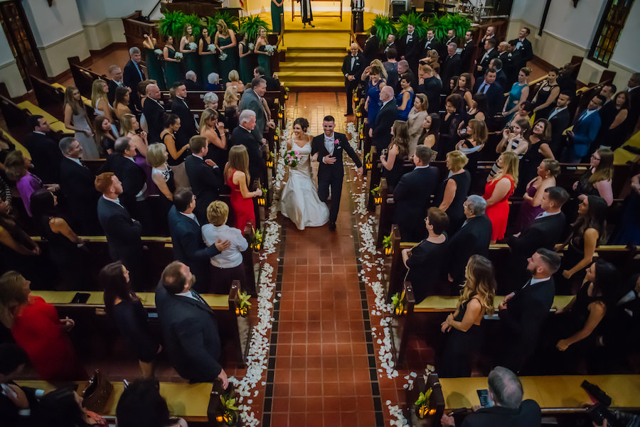 Bride and Groom Walking Down the Aisle Wedding Portrait | Tampa Wedding Ceremony Venue First Presbyterian Church of Tampa
