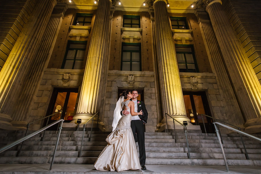 Bride and Groom Wedding Portrait at Downtown Tampa Wedding Venue Le Meridien Hotel | Martina Liana Ivory Satin Wedding Gown