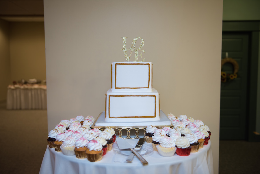 White and Gold Square Wedding Cake and Cupcakes with LOVE Cake Topper | Tampa Wedding Cake Decorator Olympia Catering