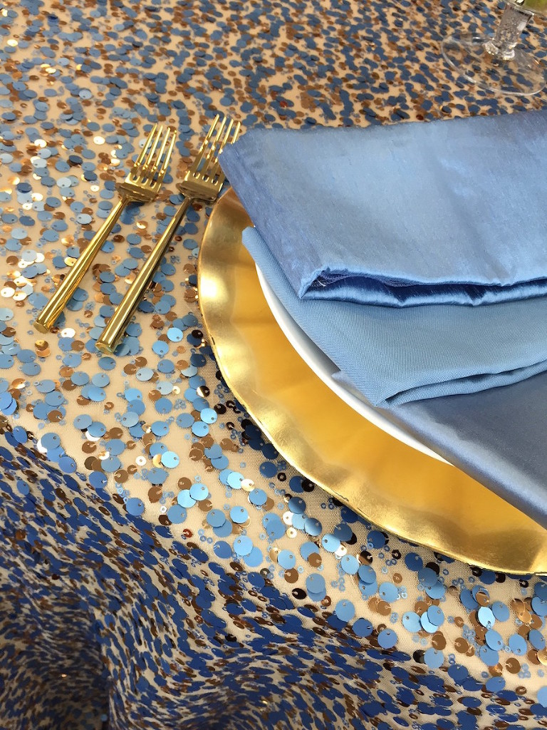 Tampa Wedding Linen Rentals from Over the Top Rental Linens| Blue Gold Sequin Wedding Linens
