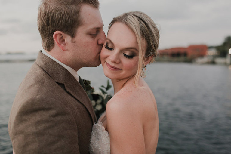 Outdoor, Downtown Tampa Waterfront Bride and Groom Wedding Portrait in Tan Suit and Ivory, Strapless JLM Couture Wedding Dress | Tampa Wedding Makeup Artist Lindsay Does Makeup