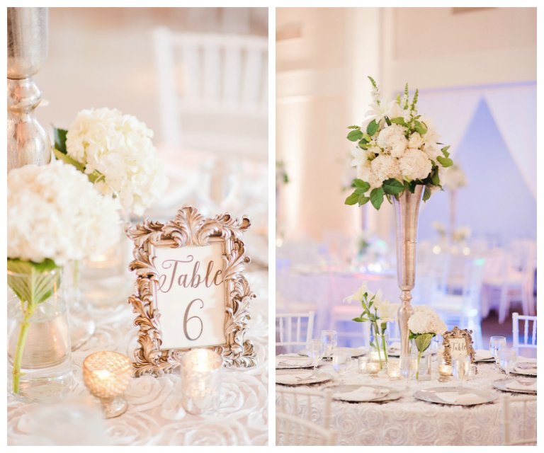 Wedding Reception Table Decor with Tall, Ivory Floral Centerpieces in Gold Vases and Gold Framed Table Numbers | Tampa Wedding Venue The Vault | Tampa Wedding Photographer Marc Edwards Photographs