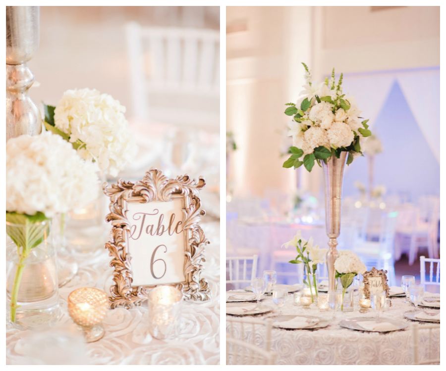 Wedding Reception Table Decor with Tall, Ivory Floral Centerpieces in Gold Vases and Gold Framed Table Numbers   Tampa Wedding Venue The Vault   Tampa Wedding Photographer Marc Edwards Photographs