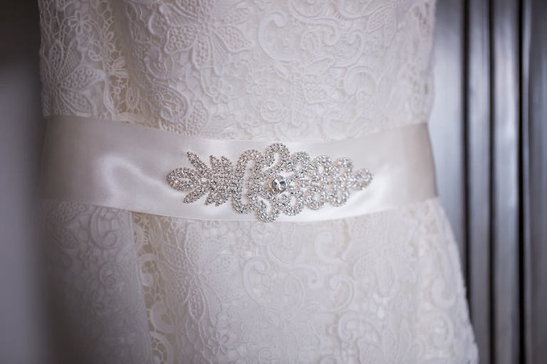 White Lace Wedding Dress with Rhinestone Jeweled Belt Sash