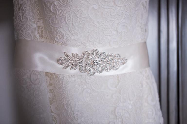 White Lace Wedding Dress with Rhinestone Jeweled Belt Sash