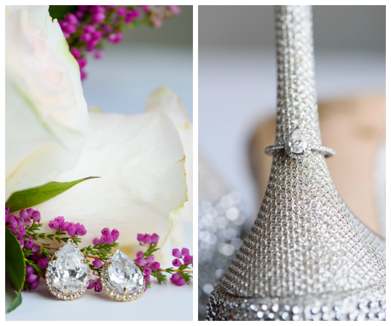 Bridal Jewelry: Diamond Earrings and Engagement Wedding Ring on Rhinestone Bling Shoes
