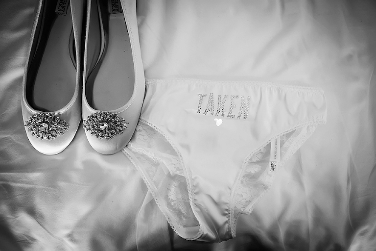 Getting Ready: Bridal Wedding Day Details with Brides Victoria's Secret Underwear and Wedding Closed Toed Flat Shoes with Broach Details| St. Pete Wedding Photographer Limelight Photography