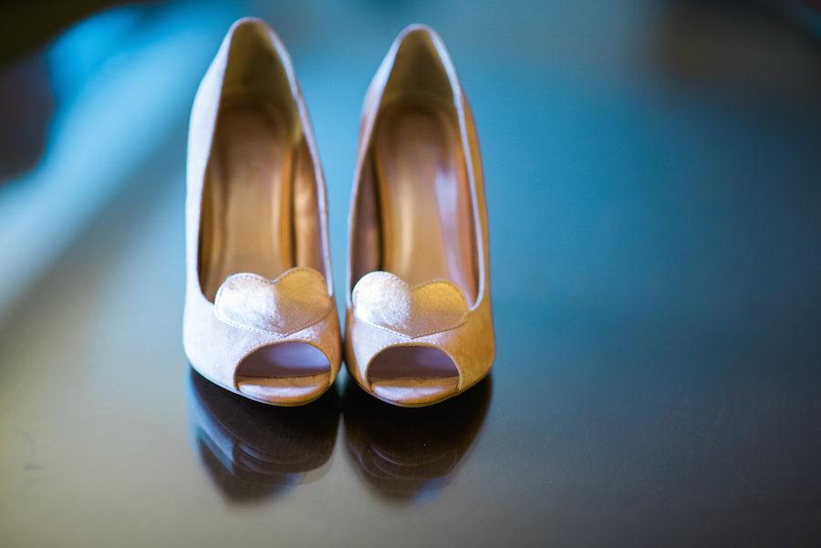 Pink High Heel Peep Toed Wedding Shoes with Heart