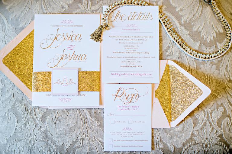 Blush, Gold and Glitter Elegant Wedding Invitation Suite