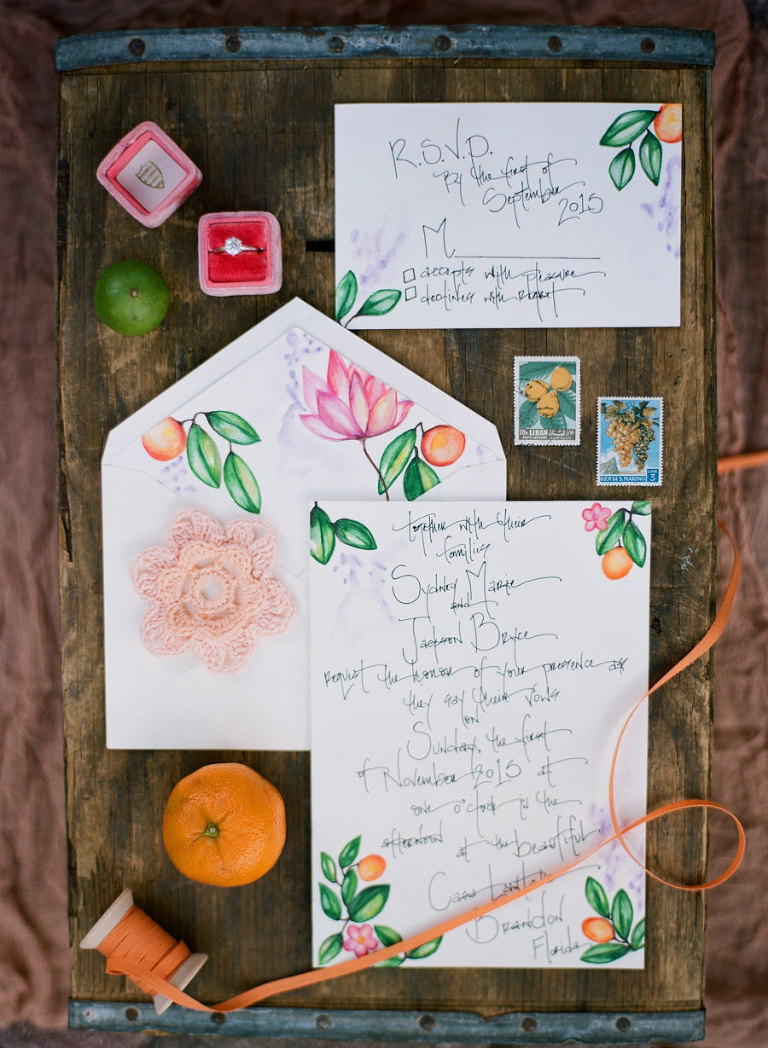 Florida Inspired Citrus Orange Themed Wedding Invitation Suite