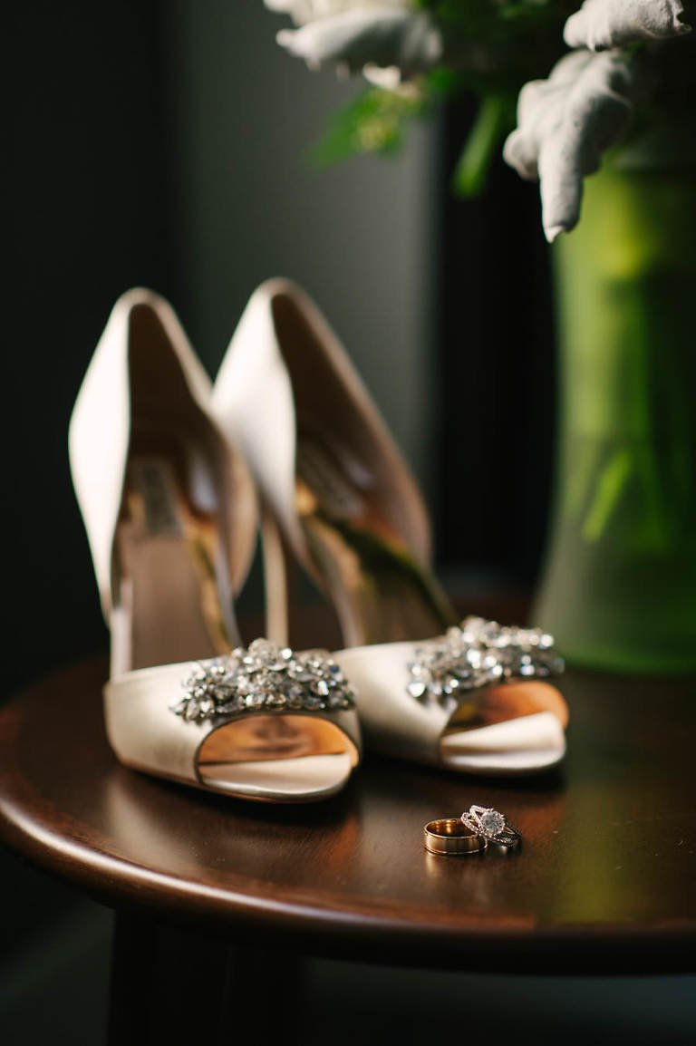 Bridal Champagne Open Toed Wedding Shoes with Rhinestone Brooch and Wedding/Engagement Ring Portrait