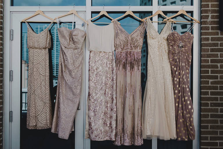 Blush, Ivory and Gold Sequined Mis-Matched Bridesmaids Dresses