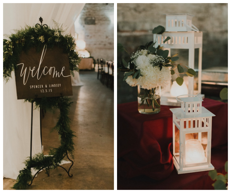 Wedding Reception Wooden Welcome Sign and Lanterns with Ivory Floral Display