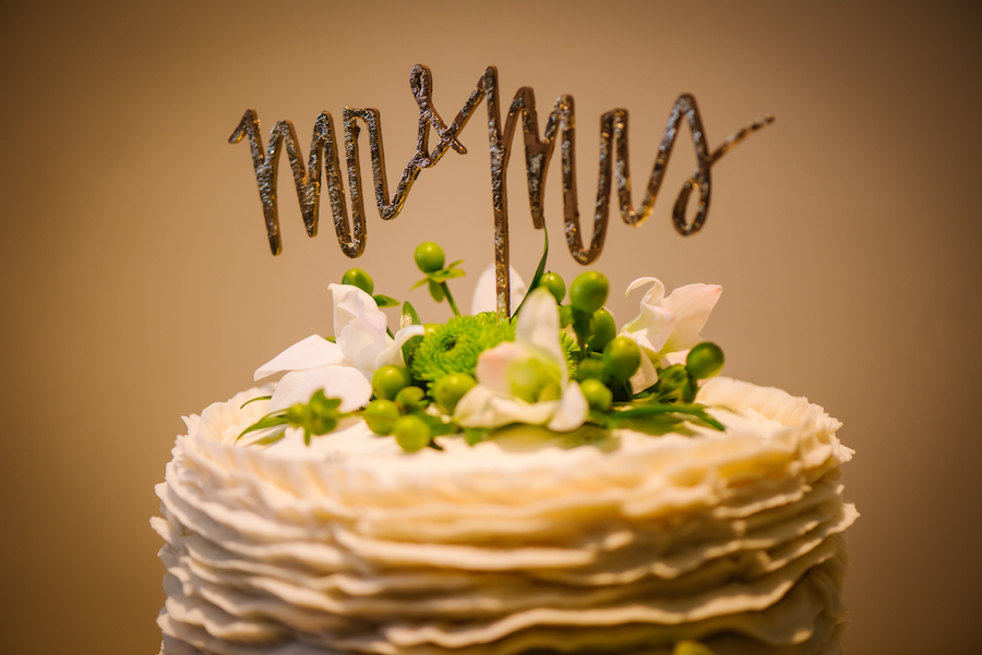 Mr and Mrs Gold Wedding Cake Topper with Green Flowers