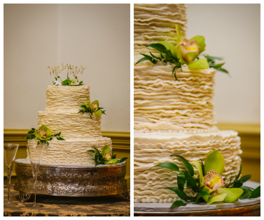 Three Tiered Round Buttercream Wedding Cake with Green and Gold Lilies