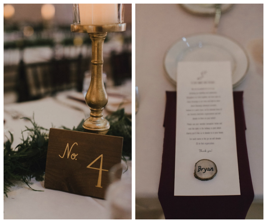 Wedding Reception Wooden Table Number with Gold Writing and Plum Colored Table Napkin Linen with White Menu and Personalized Place Card