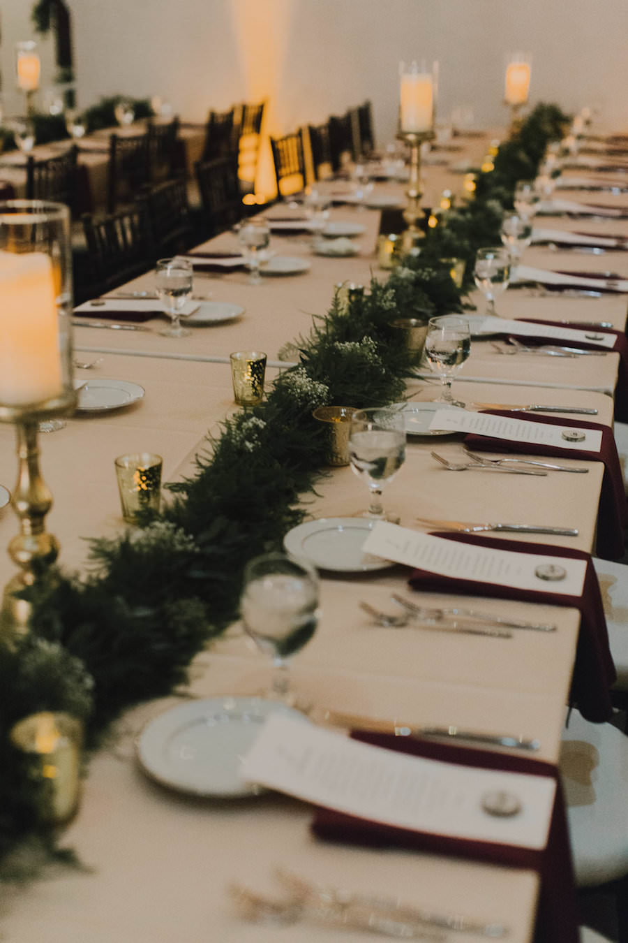 Tampa Wedding Reception Table Decor with Garland Centerpiece Table Runner, and Candles with Gold Stands   Tampa Wedding Planner Blush by Brandee Gaar