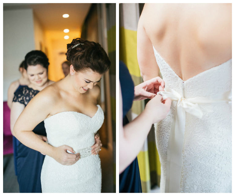 Bride Getting Ready on Wedding Day, Putting on Dress