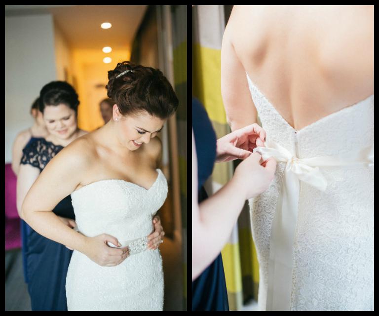 Bride Getting Ready on Wedding Day, Putting on Dress