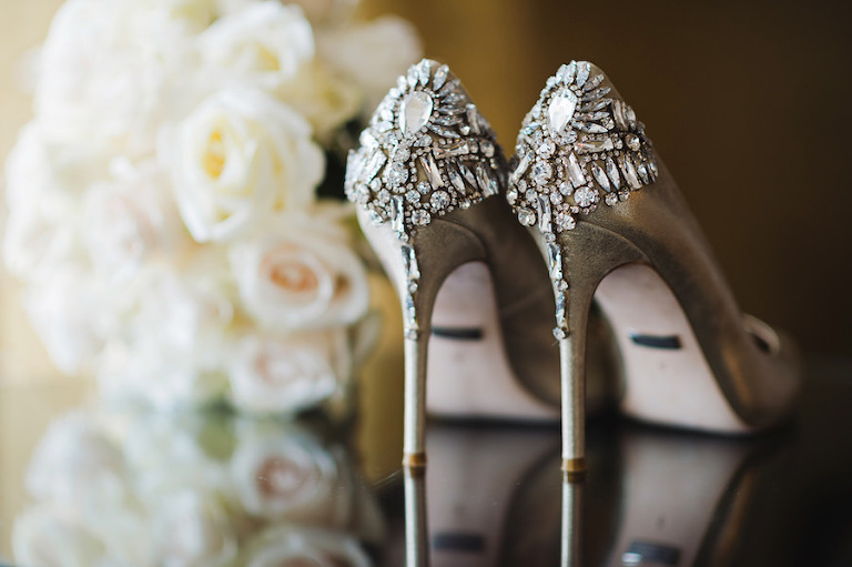 Gold, Crystal Rhinestone Bridal Wedding Shoes | | Tampa Wedding Photographer Marc Edwards Photographs