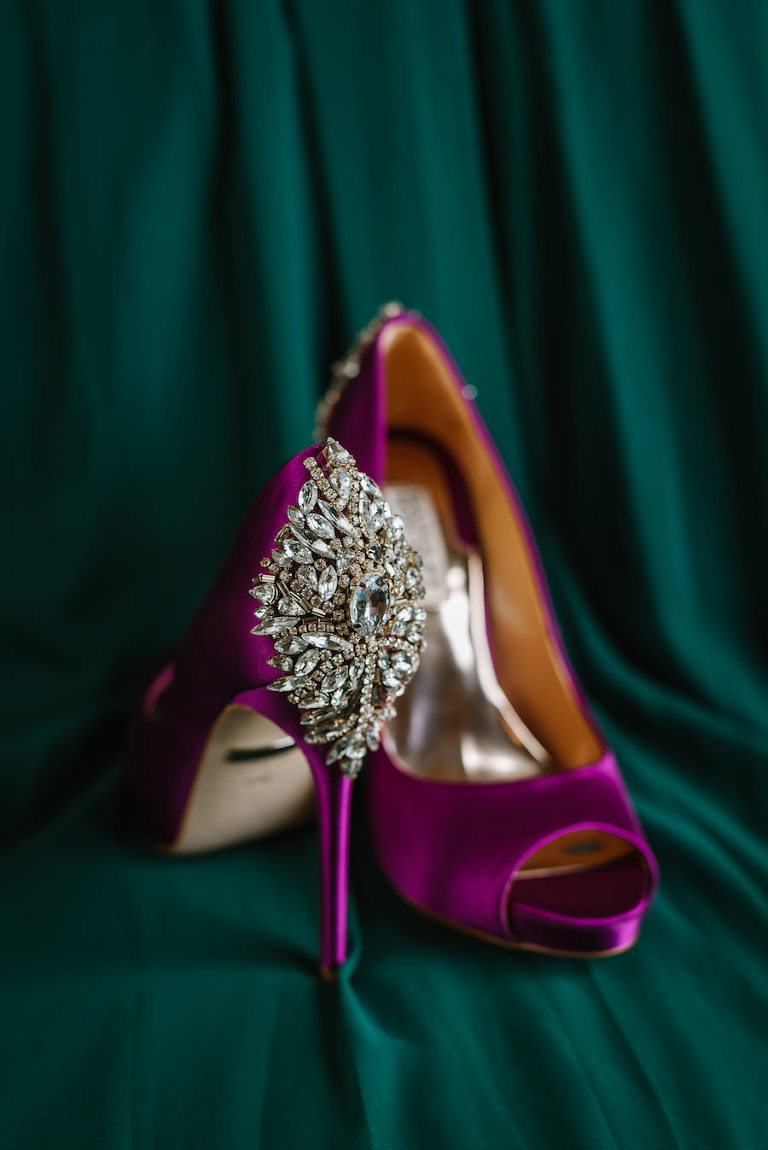 Purple, Fuchsia Open-Toe Satin Wedding Shoe with Rhinestone Brooch | Badgley Mischka Kiara Wedding Shoe