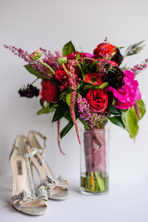 Bright Pink and Red Wedding Bouquet with Open Toed Silver Rhinestone Wedding Shoes
