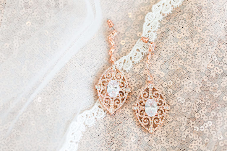 Bridal Jewelry: Rose Gold Diamond Earrings with Wedding Veil
