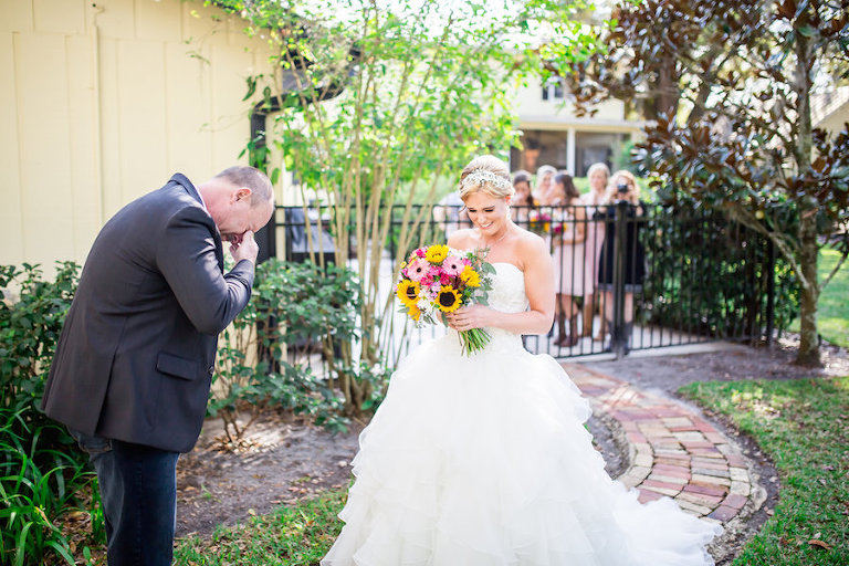 Father/ Daughter Wedding Day First Look Portrait | Tampa Bay Wedding Photographer Rad Red Creative