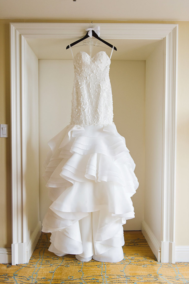 White, Strapless Lace Lis Simon Wedding Dress with Layered Organza Skirt