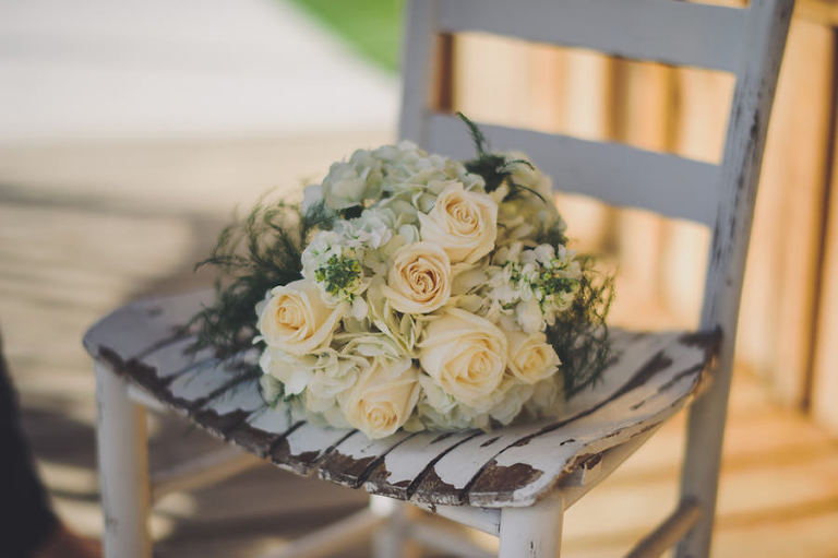 Peach and Ivory Wedding Bouquet of Roses on Rustic Chair