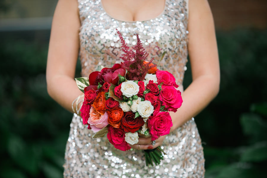 Red, White and Pink Wedding Bouquet with Sequined Bridesmaids Dresses | Tampa Wedding Photographer Kera Photography