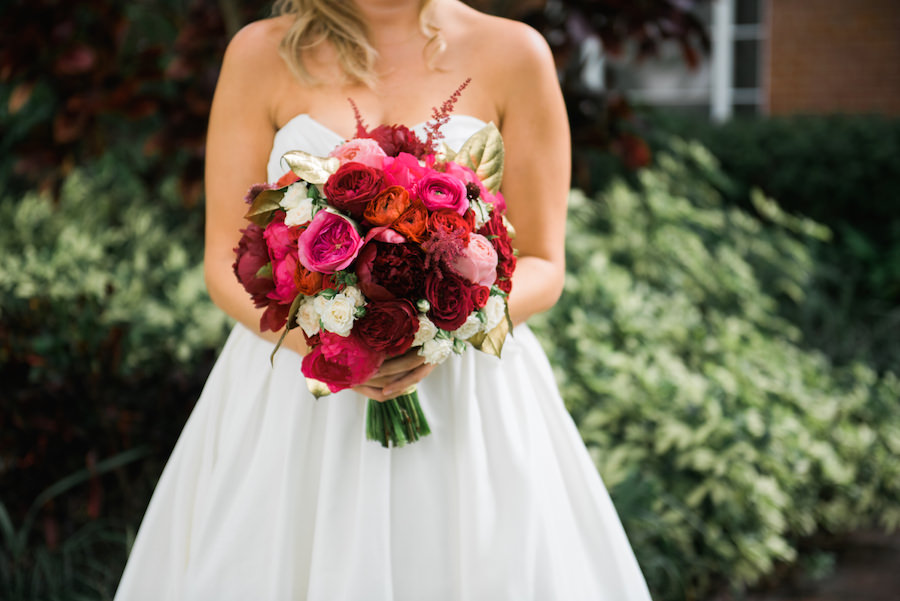 Red, White and Pink Wedding Bouquet | Tampa Wedding Photographer Kera Photography