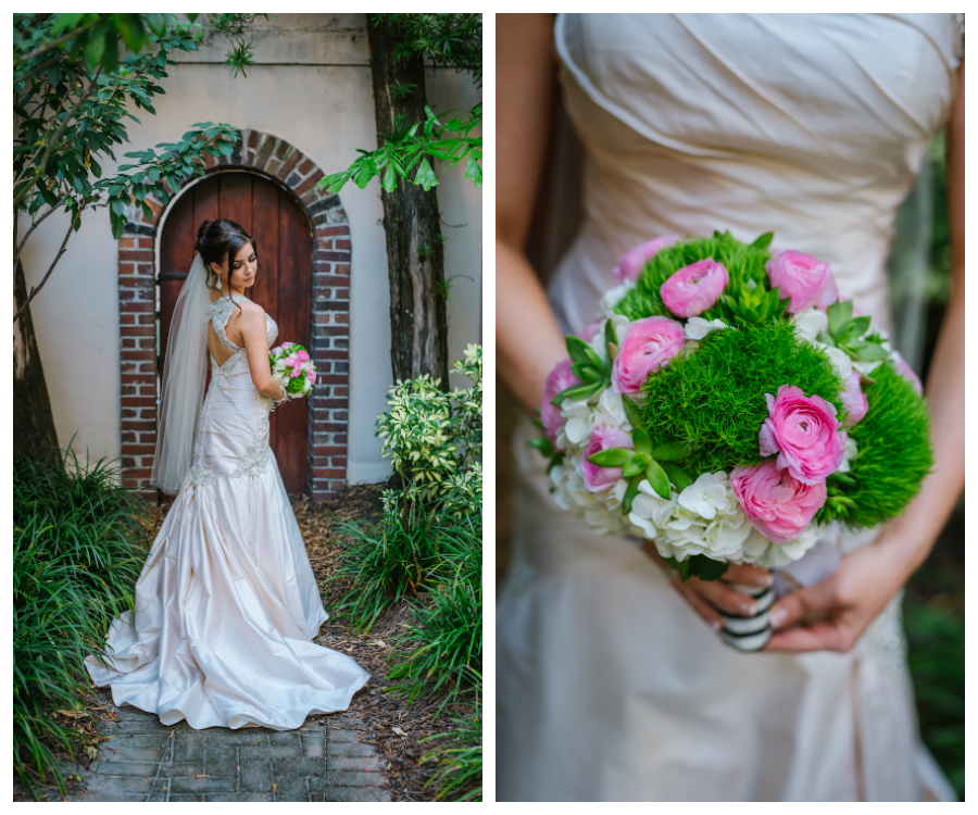 Bridal Wedding Portrait in Ivory Satin Martina Liana Wedding Dress with White and Pink Floral Wedding Bouquet with Greenery | South Tampa Wedding Florist Apple Blossoms Floral Designs