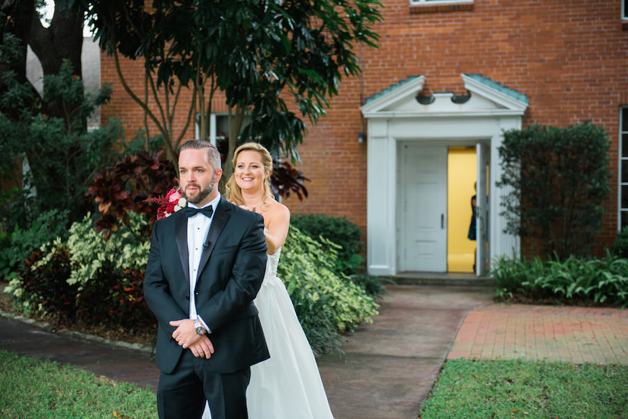 Bride and Groom First Look on Wedding Day | Tampa Wedding Photographer Kera Photography