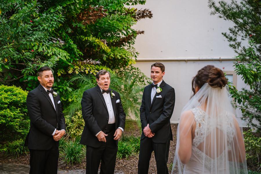 Bride First Look Wedding Portrait | Martina Liana Ivory Satin Wedding Dress | Tampa Wedding Hair Aritist Michele Renee The Studio