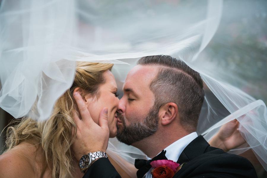 Bride and Groom Wedding Portrait with Veil | Tampa Wedding Photographer Kera Photography