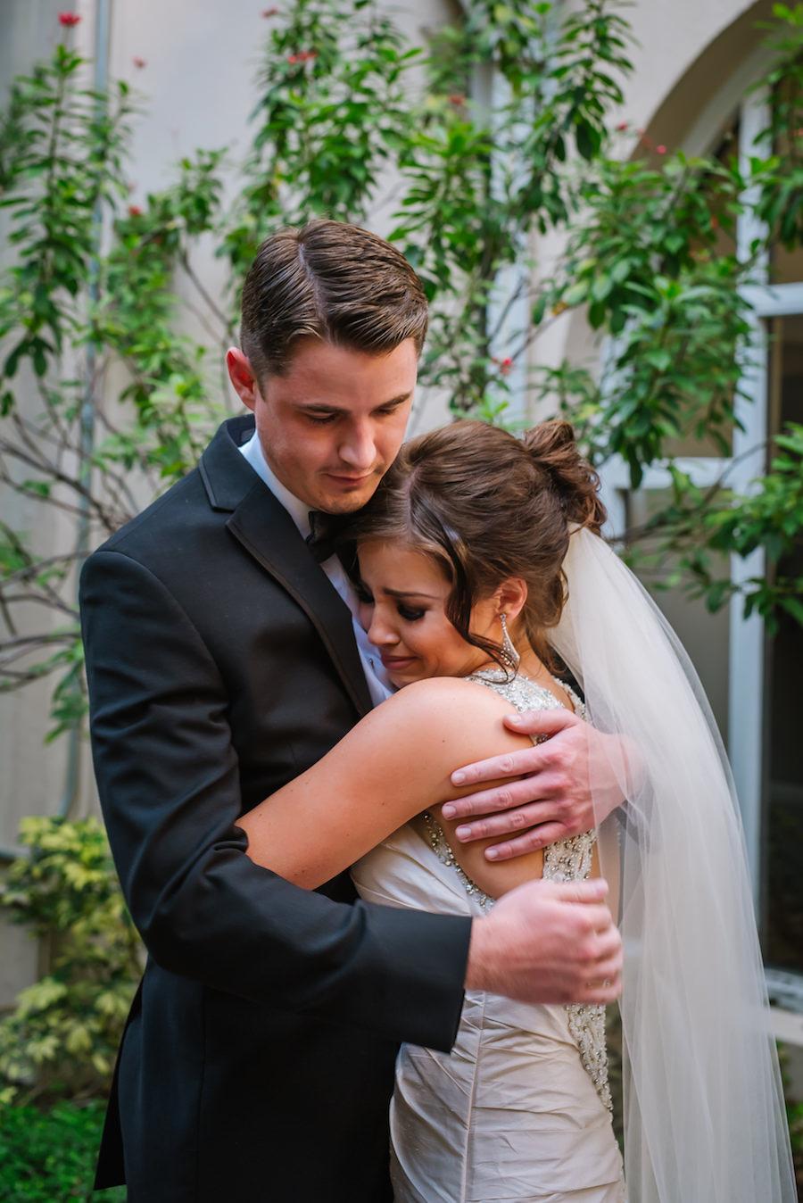 Bride and Brother Wedding Portrait | Martina Liana Ivory Satin Wedding Dress | Tampa Wedding Hair Arist Michele Renee The Studio