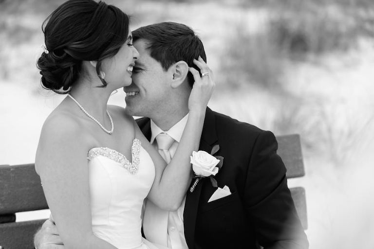 Bride and Groom Beach Wedding Portrait | St. Petersburg Wedding Photographer Caroline & Evan Photography