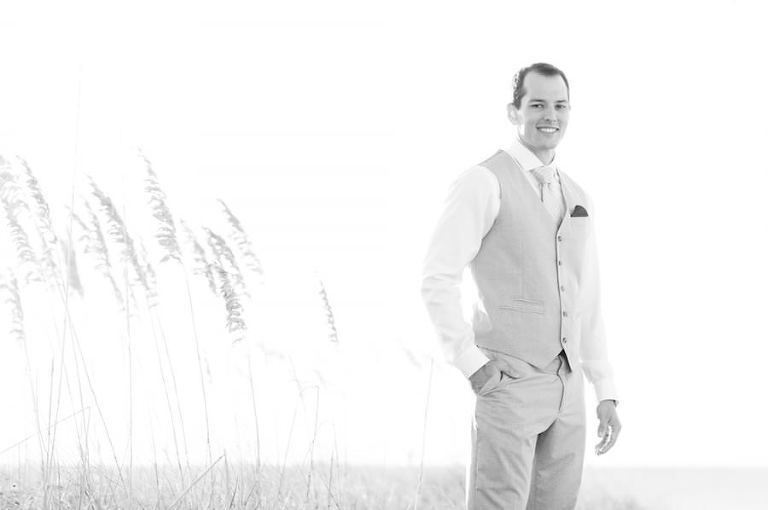 Florida Beach Groom in Tan Suit on Wedding Day | St. Petersburg Wedding Photographer Caroline & Evan Photography