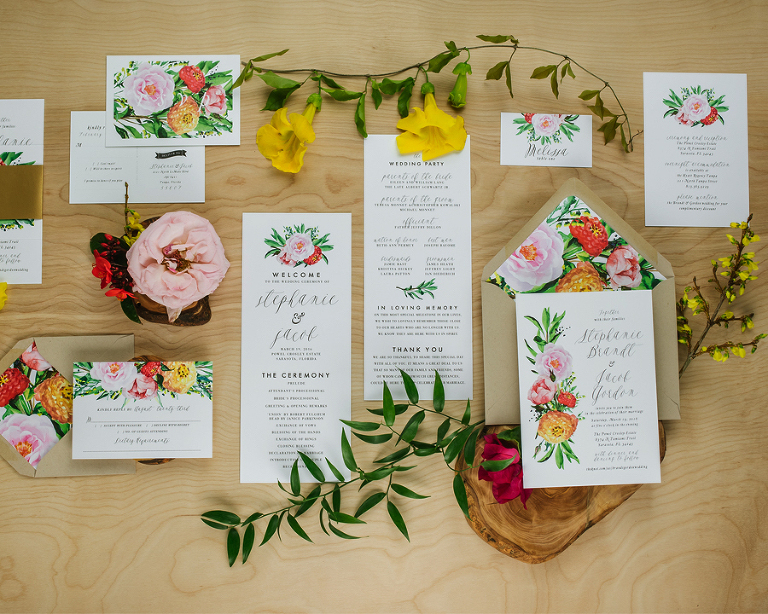 Summer Botanical Watercolor Wedding Invitation Trends by Tampa Wedding Invitation Designer Citrus Press Co