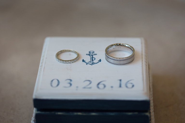 Bride and Groom Nautical Theme Wedding Ring Portrait